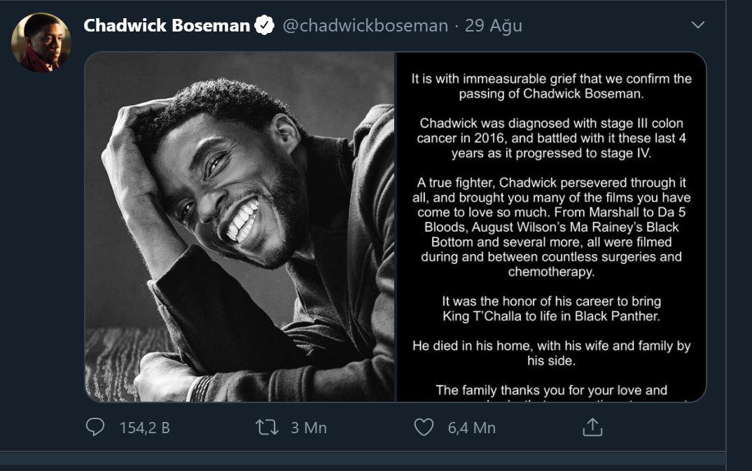 Chadwick Boseman için yapılan paylaşım, Twitter tarihinin en çok beğenilen tweet'i oldu