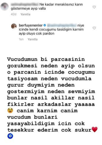 Berfu Yenenler, Takipçisinin Yorumuna Sinirlendi